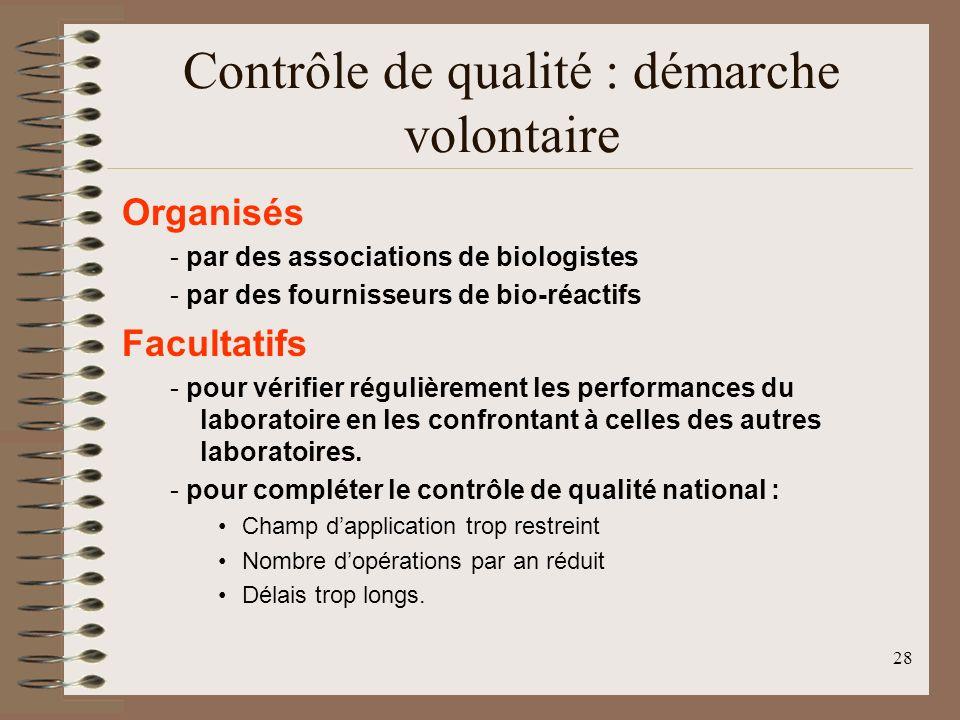 28 Contrôle de qualité : démarche volontaire Organisés - par des associations de biologistes - par des fournisseurs de bio-réactifs Facultatifs - pour vérifier régulièrement les performances du laboratoire en les confrontant à celles des autres laboratoires.