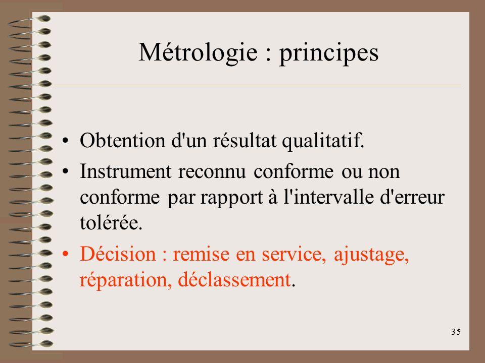 35 Métrologie : principes Obtention d un résultat qualitatif.
