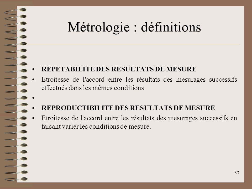 37 Métrologie : définitions REPETABILITE DES RESULTATS DE MESURE Etroitesse de l accord entre les résultats des mesurages successifs effectués dans les mêmes conditions REPRODUCTIBILITE DES RESULTATS DE MESURE Etroitesse de l accord entre les résultats des mesurages successifs en faisant varier les conditions de mesure.
