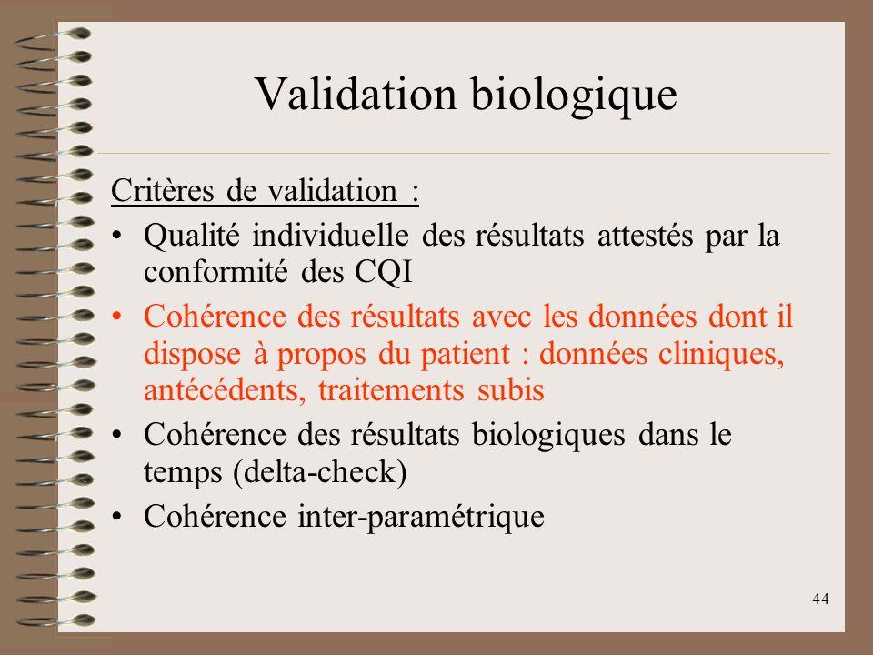 44 Validation biologique Critères de validation : Qualité individuelle des résultats attestés par la conformité des CQI Cohérence des résultats avec les données dont il dispose à propos du patient : données cliniques, antécédents, traitements subis Cohérence des résultats biologiques dans le temps (delta-check) Cohérence inter-paramétrique