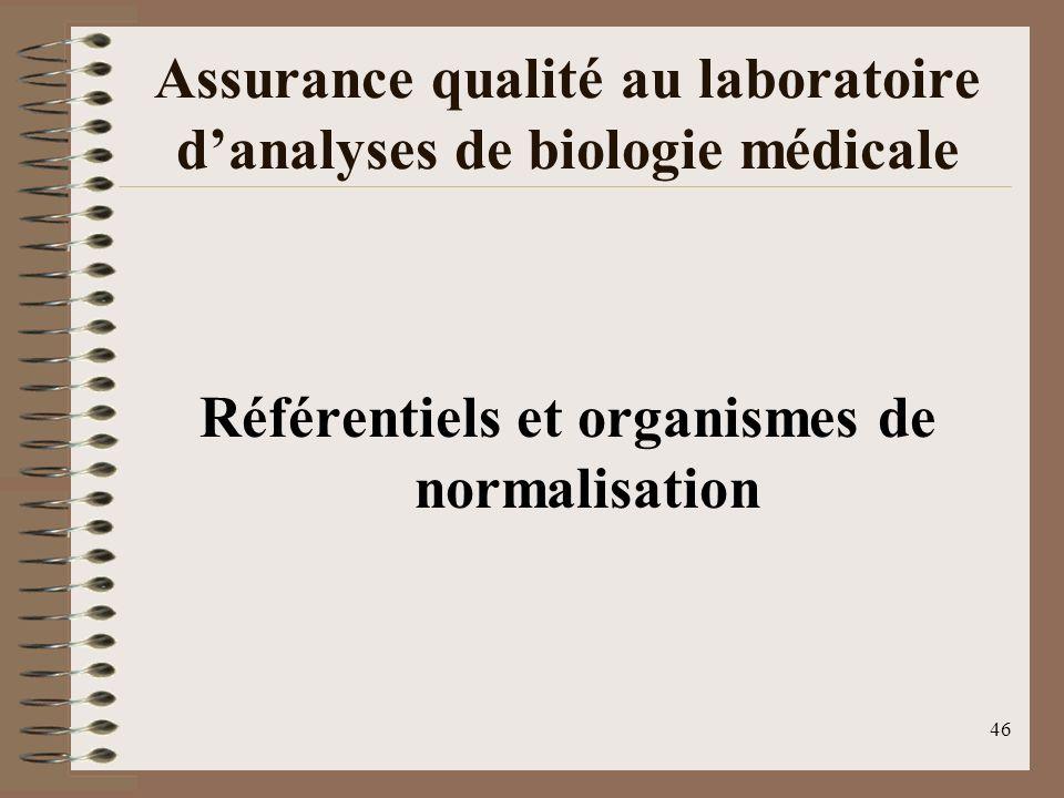 46 Assurance qualité au laboratoire danalyses de biologie médicale Référentiels et organismes de normalisation