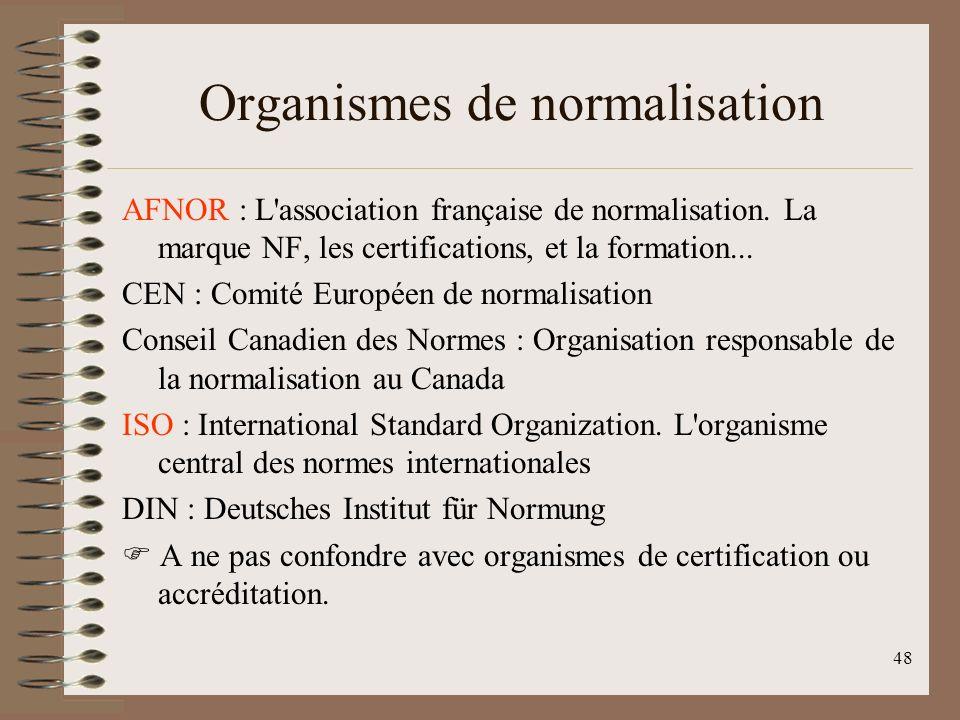 48 Organismes de normalisation AFNOR : L association française de normalisation.