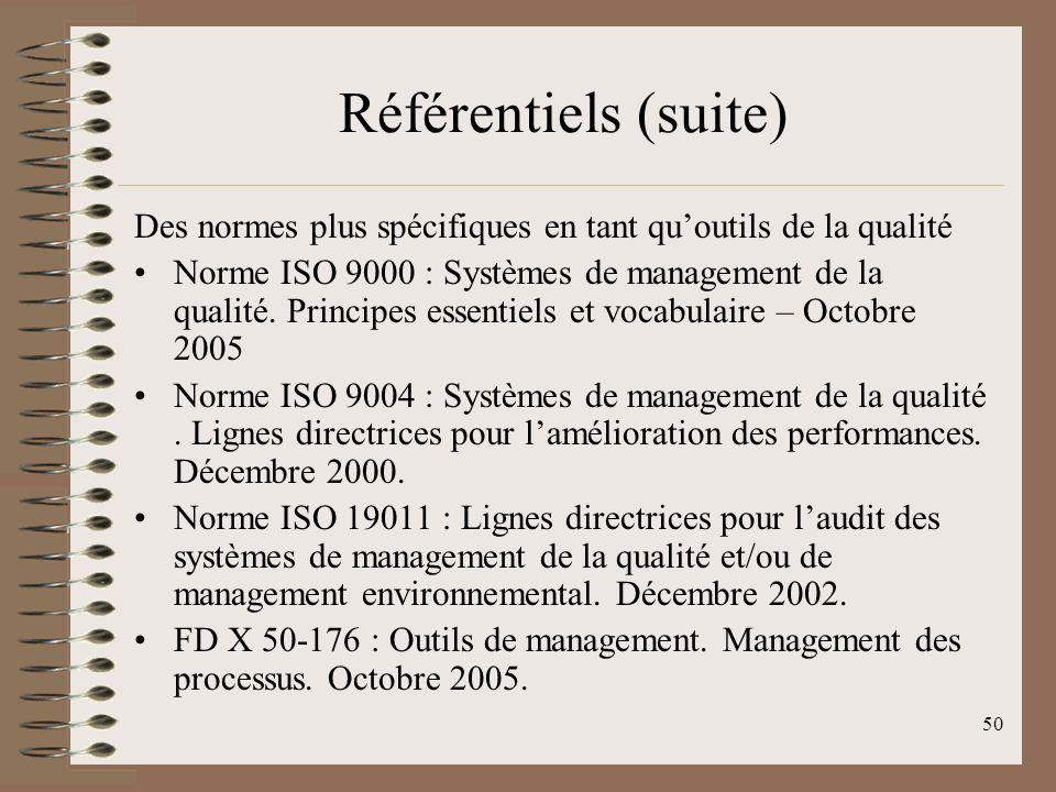 50 Référentiels (suite) Des normes plus spécifiques en tant quoutils de la qualité Norme ISO 9000 : Systèmes de management de la qualité.