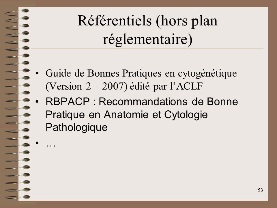 53 Référentiels (hors plan réglementaire) Guide de Bonnes Pratiques en cytogénétique (Version 2 – 2007) édité par lACLF RBPACP : Recommandations de Bonne Pratique en Anatomie et Cytologie Pathologique …