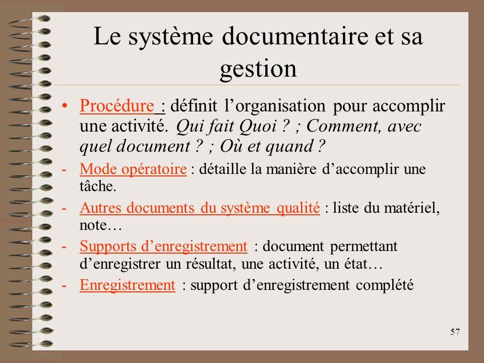 57 Le système documentaire et sa gestion Procédure : définit lorganisation pour accomplir une activité.