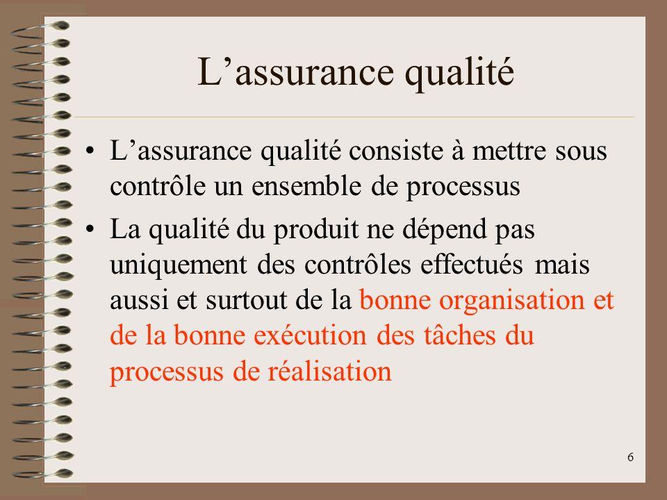 6 Lassurance qualité Lassurance qualité consiste à mettre sous contrôle un ensemble de processus La qualité du produit ne dépend pas uniquement des contrôles effectués mais aussi et surtout de la bonne organisation et de la bonne exécution des tâches du processus de réalisation