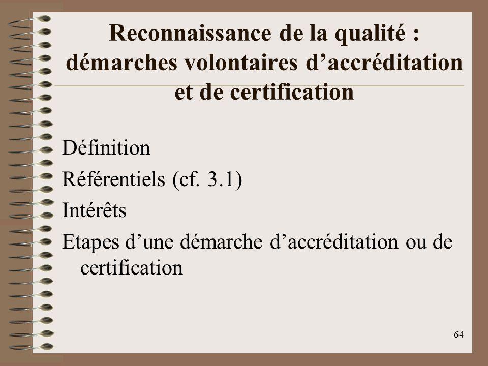 64 Reconnaissance de la qualité : démarches volontaires daccréditation et de certification Définition Référentiels (cf.