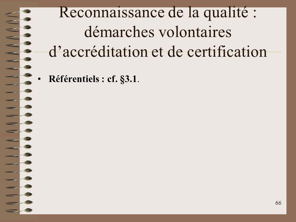 66 Reconnaissance de la qualité : démarches volontaires daccréditation et de certification Référentiels : cf.