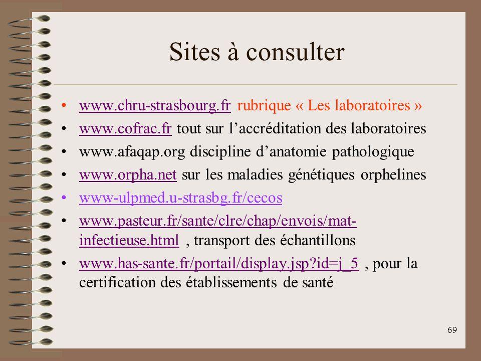 69 Sites à consulter www.chru-strasbourg.fr rubrique « Les laboratoires »www.chru-strasbourg.fr www.cofrac.fr tout sur laccréditation des laboratoireswww.cofrac.fr www.afaqap.org discipline danatomie pathologique www.orpha.net sur les maladies génétiques orphelineswww.orpha.net www-ulpmed.u-strasbg.fr/cecos www.pasteur.fr/sante/clre/chap/envois/mat- infectieuse.html, transport des échantillonswww.pasteur.fr/sante/clre/chap/envois/mat- infectieuse.html www.has-sante.fr/portail/display.jsp?id=j_5, pour la certification des établissements de santéwww.has-sante.fr/portail/display.jsp?id=j_5