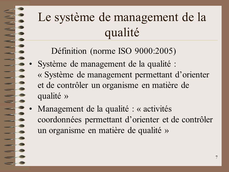 7 Le système de management de la qualité Définition (norme ISO 9000:2005) Système de management de la qualité : « Système de management permettant dorienter et de contrôler un organisme en matière de qualité » Management de la qualité : « activités coordonnées permettant dorienter et de contrôler un organisme en matière de qualité »