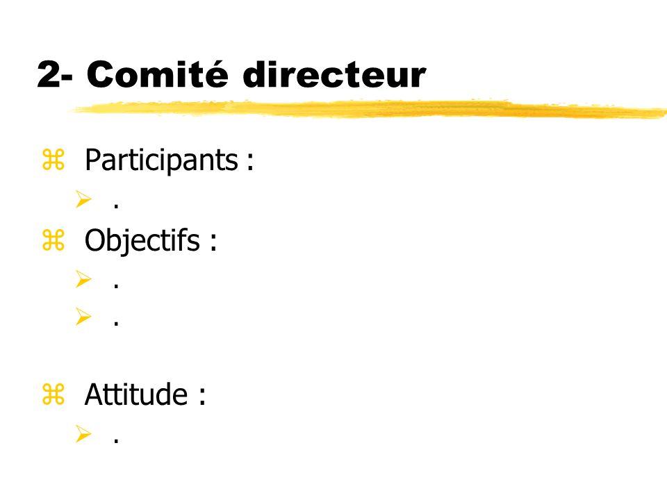 2- Comité directeur zParticipants :. zObjectifs :. zAttitude :.