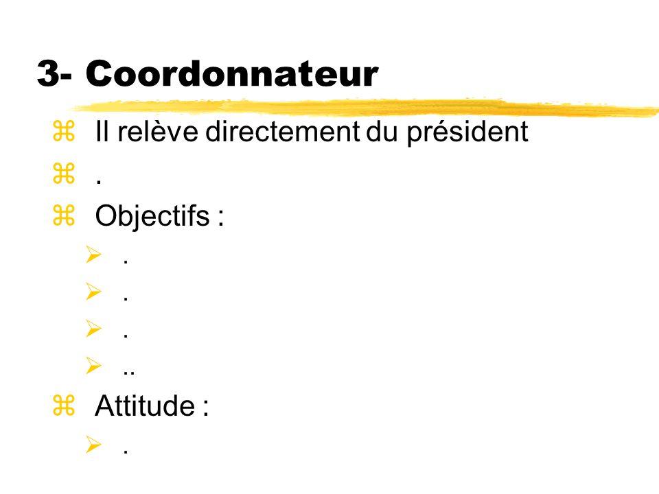 3- Coordonnateur zIl relève directement du président z. zObjectifs :... zAttitude :.