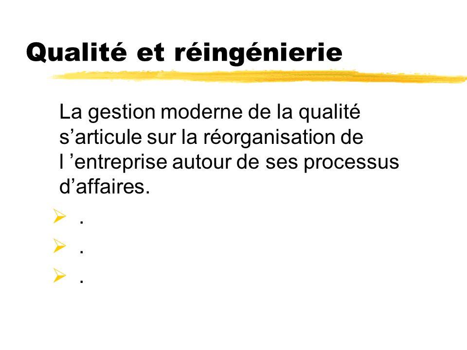 Qualité et réingénierie La gestion moderne de la qualité sarticule sur la réorganisation de l entreprise autour de ses processus daffaires..