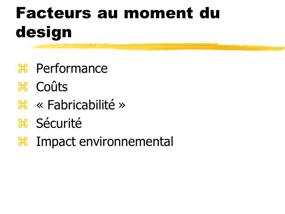 Facteurs au moment du design zPerformance zCoûts z« Fabricabilité » zSécurité zImpact environnemental