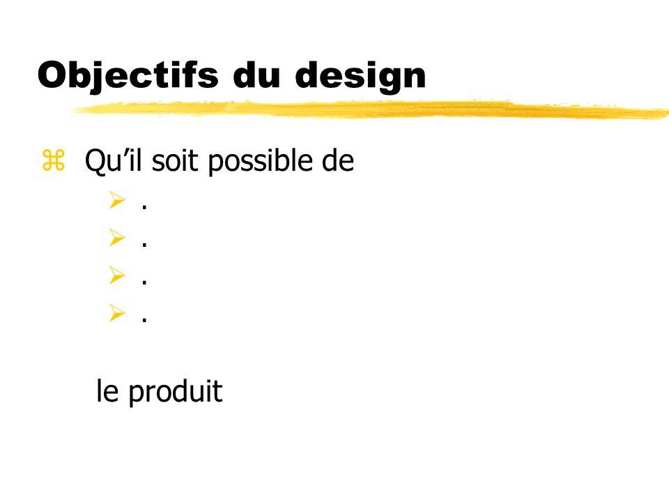 Objectifs du design zQuil soit possible de. le produit
