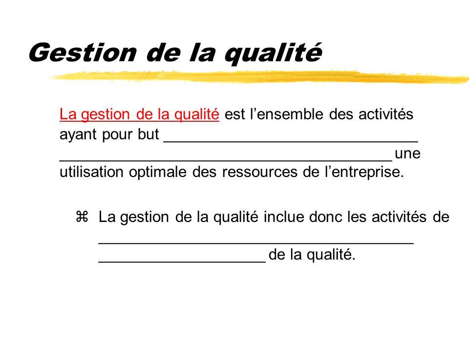Gestion de la qualité La gestion de la qualité est lensemble des activités ayant pour but _____________________________ ______________________________