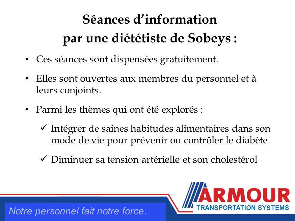 Séances dinformation par une diététiste de Sobeys : Ces séances sont dispensées gratuitement.