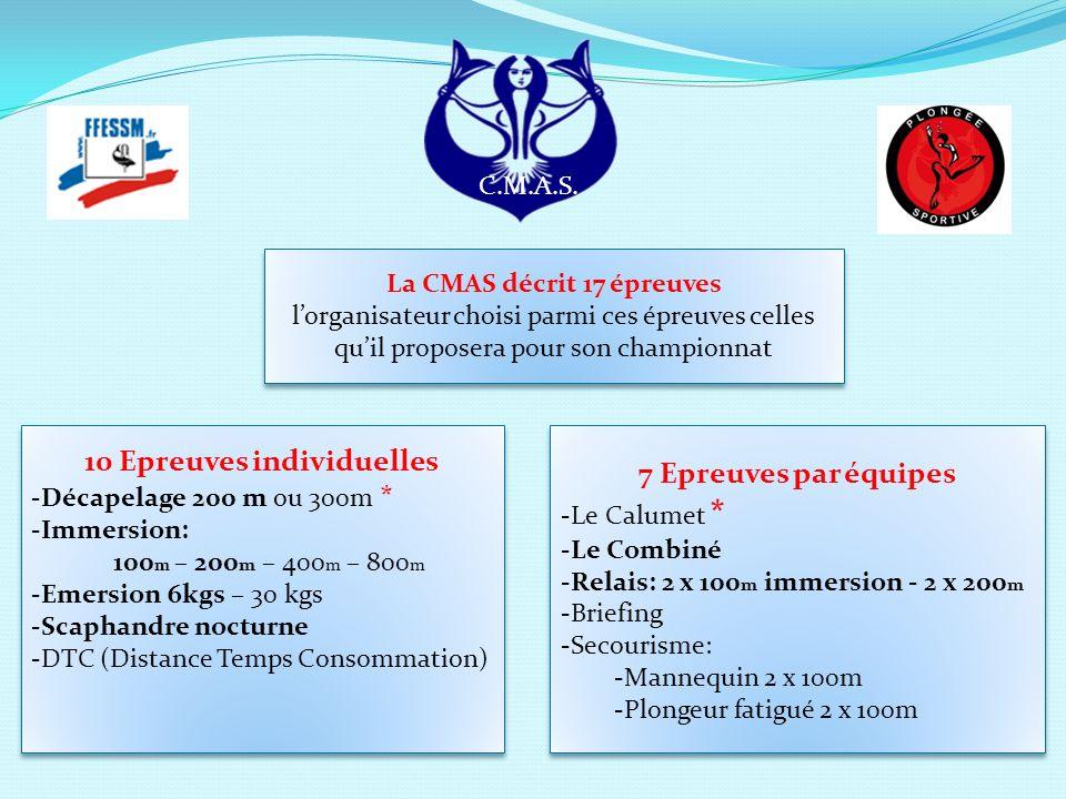 La CMAS décrit 17 épreuves lorganisateur choisi parmi ces épreuves celles quil proposera pour son championnat La CMAS décrit 17 épreuves lorganisateur