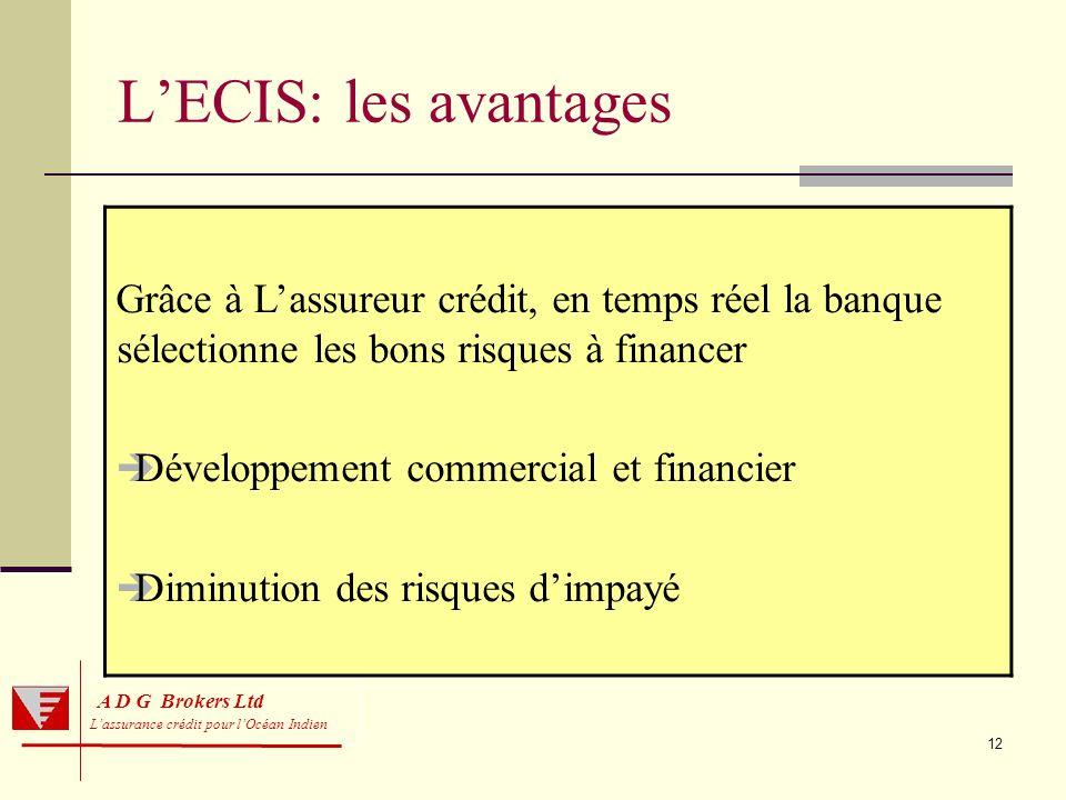 12 A D G Brokers Ltd Lassurance crédit pour lOcéan Indien LECIS: les avantages Grâce à Lassureur crédit, en temps réel la banque sélectionne les bons
