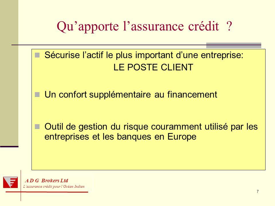 8 Trade receivables = 30 à 40% des actifs dune entreprise A D G Brokers Ltd Lassurance crédit pour lOcéan Indien