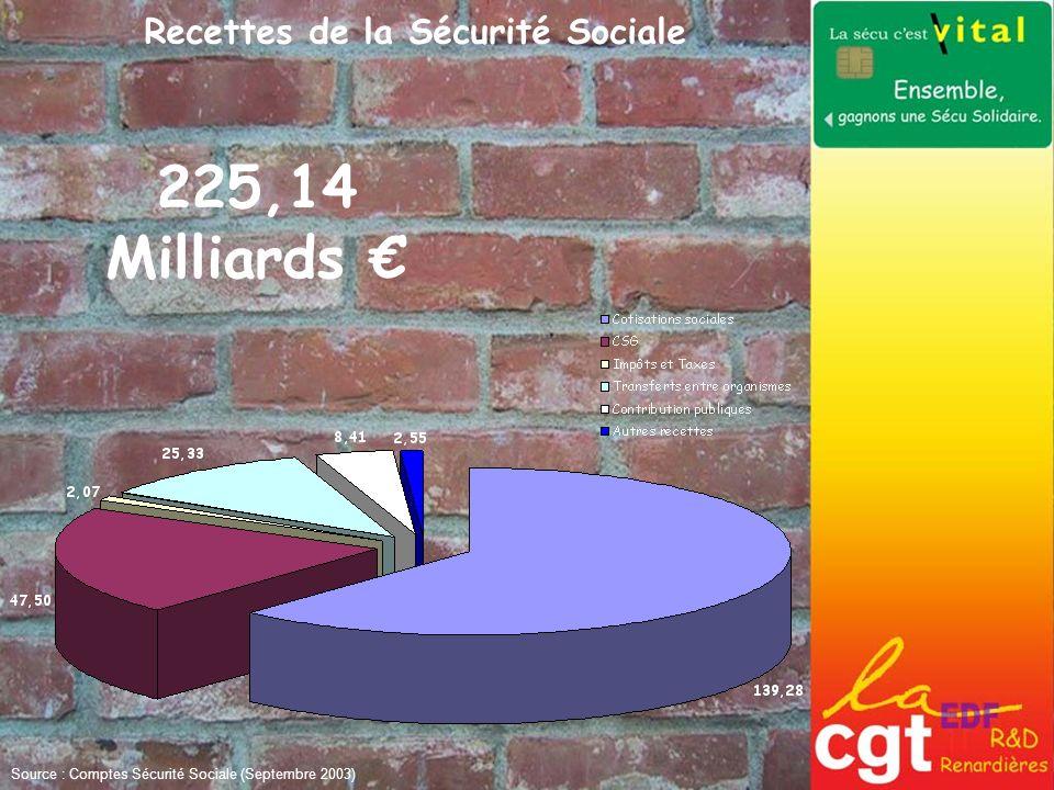 Répartition & Dépenses entre les différentes branches du Régime Général Source : Comptes Sécurité Sociale (Septembre 2003)