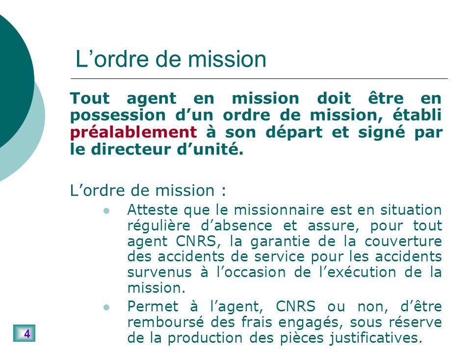 4 Lordre de mission Tout agent en mission doit être en possession dun ordre de mission, établi préalablement à son départ et signé par le directeur dunité.
