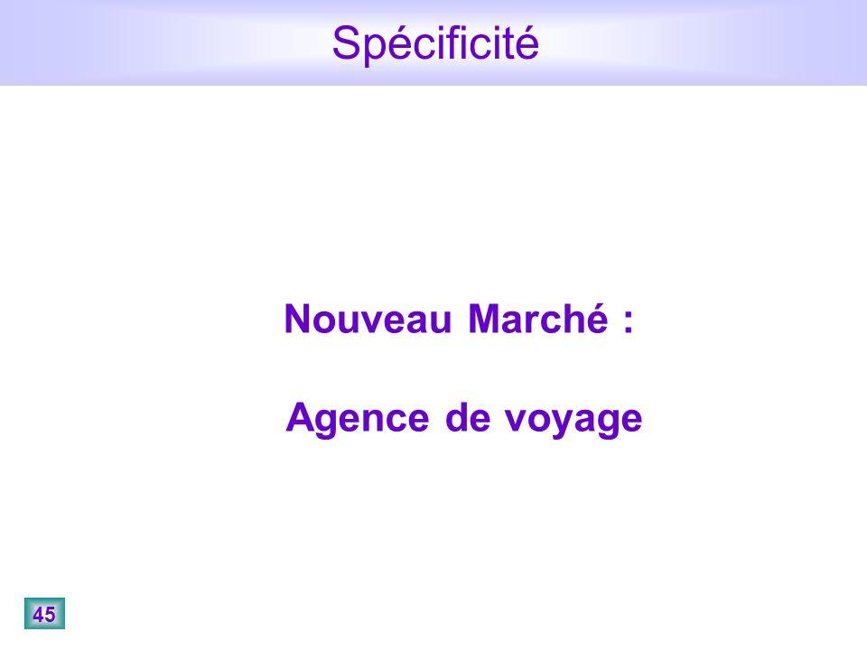 45 Spécificité Nouveau Marché : Agence de voyage