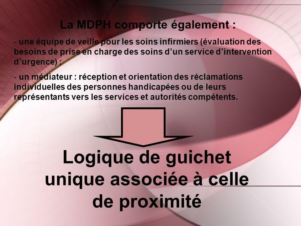 Logique de guichet unique associée à celle de proximité La MDPH comporte également : - une équipe de veille pour les soins infirmiers (évaluation des
