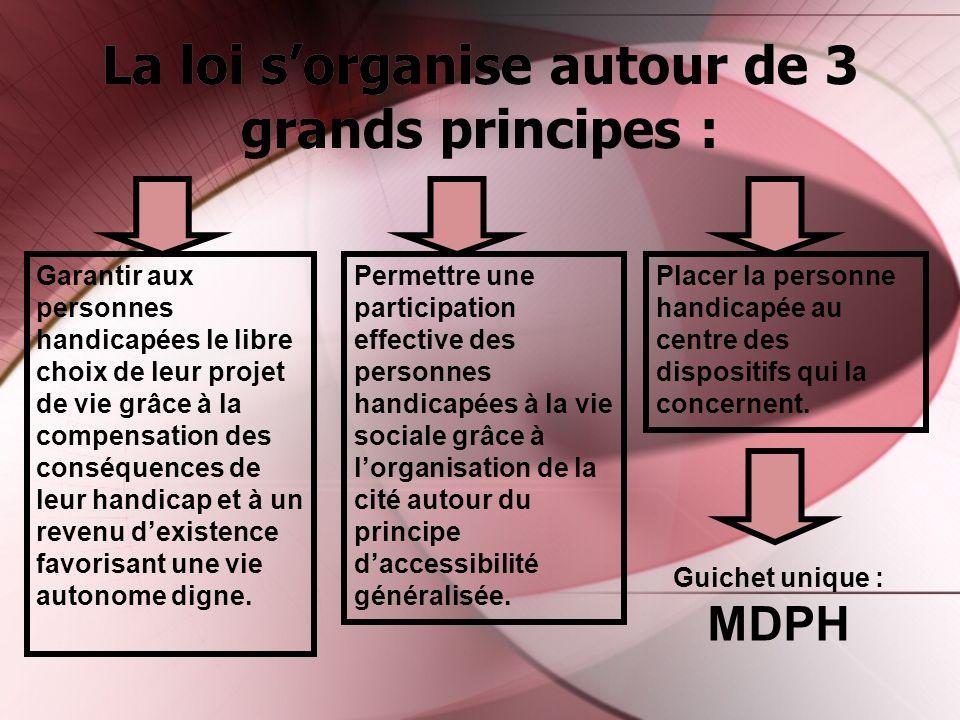 La loi sorganise autour de 3 grands principes : Garantir aux personnes handicapées le libre choix de leur projet de vie grâce à la compensation des co