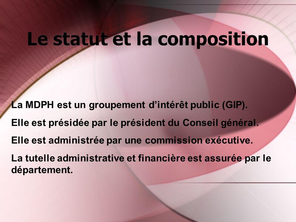 Le statut et la composition La MDPH est un groupement dintérêt public (GIP). Elle est présidée par le président du Conseil général. Elle est administr