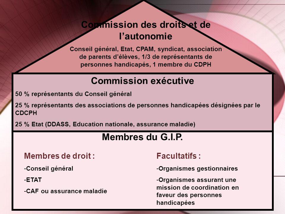 Membres du G.I.P. Membres de droit : -Conseil général -ETAT -CAF ou assurance maladie Facultatifs : -Organismes gestionnaires -Organismes assurant une