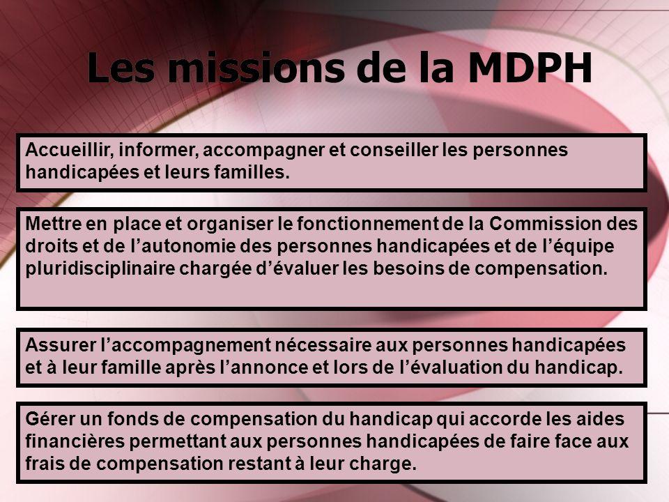 Les missions de la MDPH Accueillir, informer, accompagner et conseiller les personnes handicapées et leurs familles. Mettre en place et organiser le f