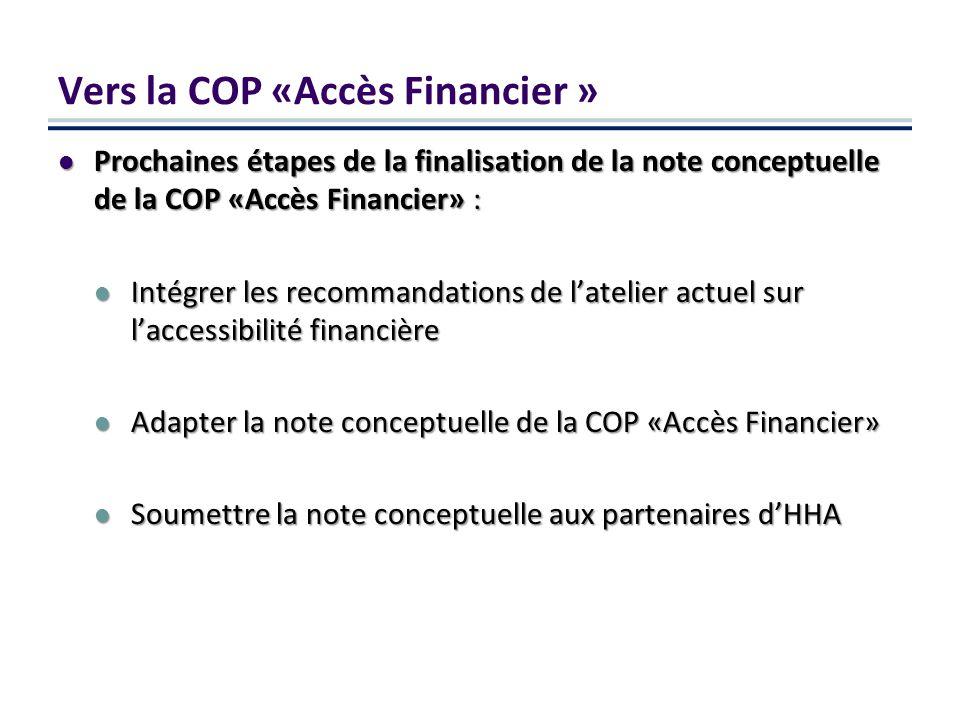 Prochaines étapes de la finalisation de la note conceptuelle de la COP «Accès Financier» : Prochaines étapes de la finalisation de la note conceptuelle de la COP «Accès Financier» : Intégrer les recommandations de latelier actuel sur laccessibilité financière Intégrer les recommandations de latelier actuel sur laccessibilité financière Adapter la note conceptuelle de la COP «Accès Financier» Adapter la note conceptuelle de la COP «Accès Financier» Soumettre la note conceptuelle aux partenaires dHHA Soumettre la note conceptuelle aux partenaires dHHA Vers la COP «Accès Financier »