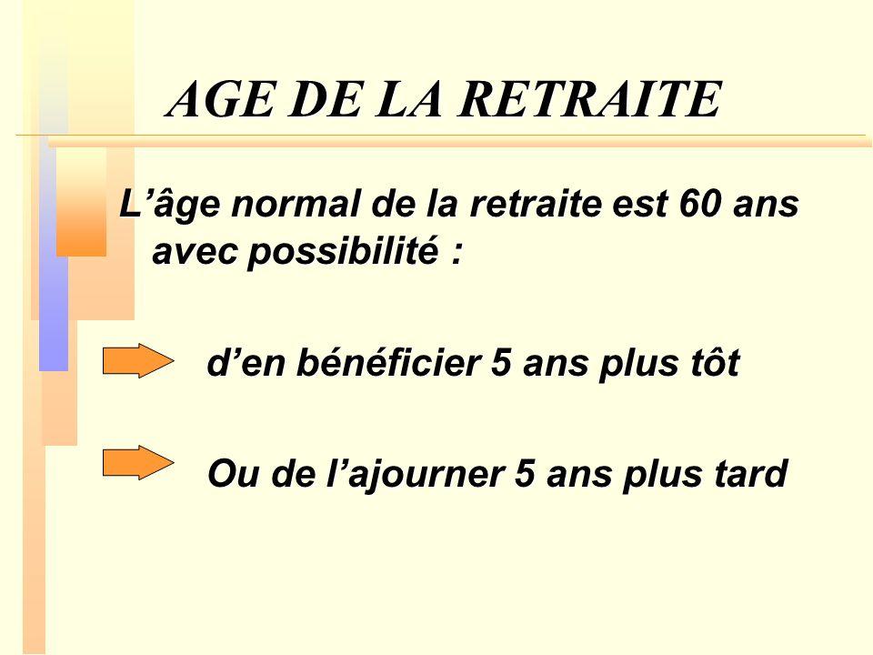 AGE DE LA RETRAITE Lâge normal de la retraite est 60 ans avec possibilité : den bénéficier 5 ans plus tôt Ou de lajourner 5 ans plus tard