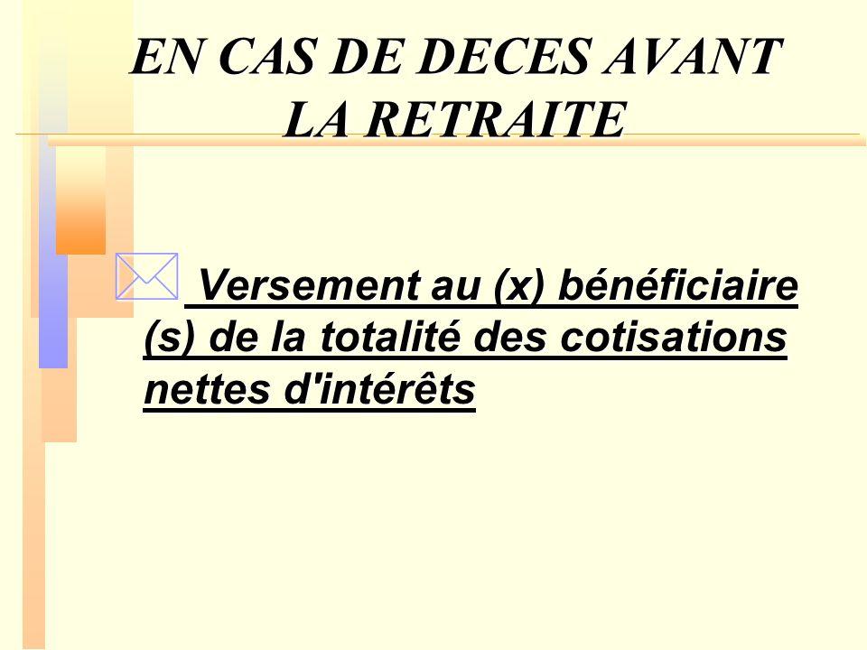 EN CAS DE DECES AVANT LA RETRAITE * Versement au (x) bénéficiaire (s) de la totalité des cotisations nettes d'intérêts