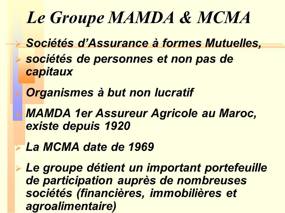 Le Groupe MAMDA & MCMA Ce qui fait du groupe lun des grands opérateurs boursiers de la place de Casa 30 bureaux régionaux 5 % de part du marché national dassurance