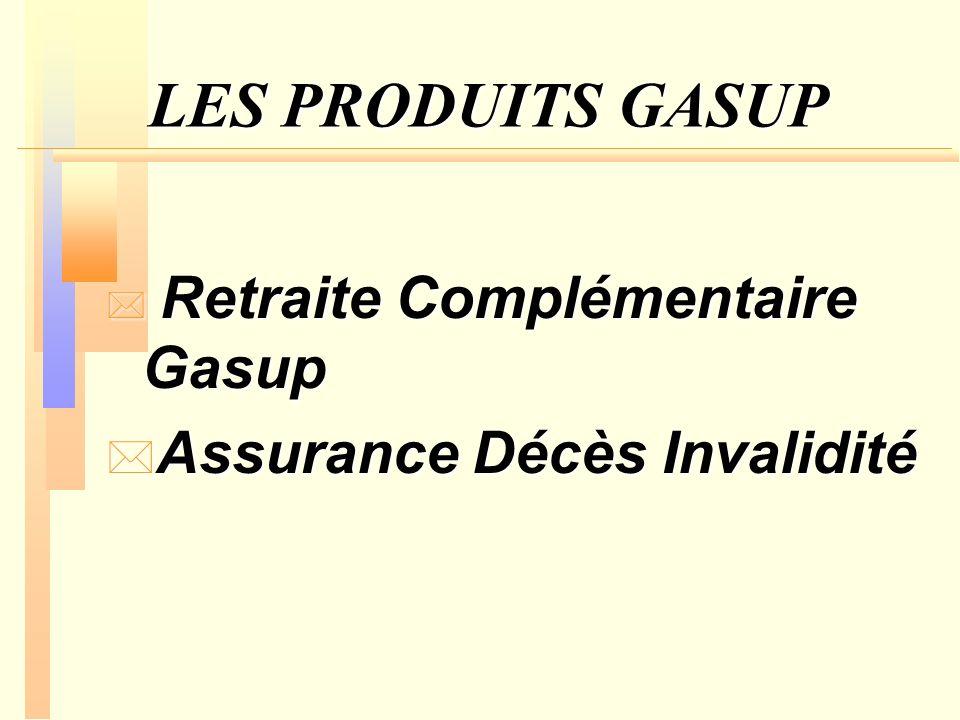 LES PRODUITS GASUP * Retraite Complémentaire Gasup * Assurance Décès Invalidité