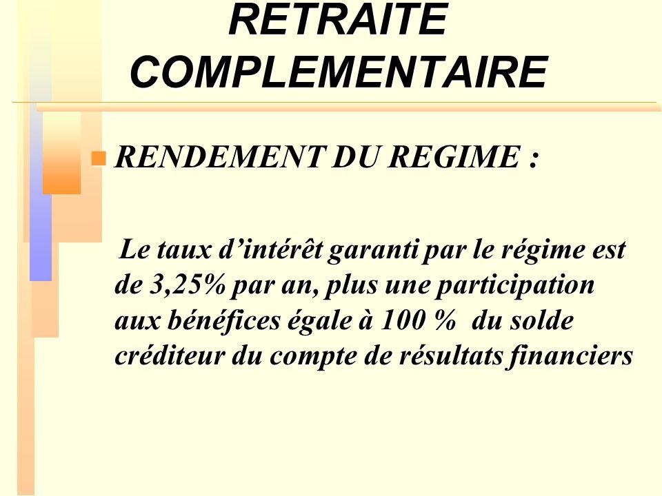 RETRAITE COMPLEMENTAIRE RENDEMENT DU REGIME : RENDEMENT DU REGIME : Le taux dintérêt garanti par le régime est de 3,25% par an, plus une participation