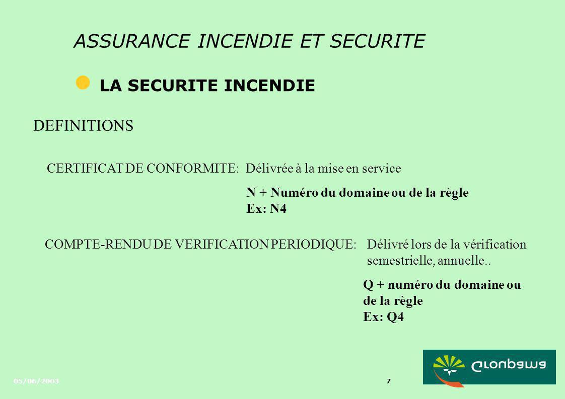 05/06/2003 7 ASSURANCE INCENDIE ET SECURITE l LA SECURITE INCENDIE DEFINITIONS CERTIFICAT DE CONFORMITE: Délivré lors de la vérification semestrielle, annuelle..