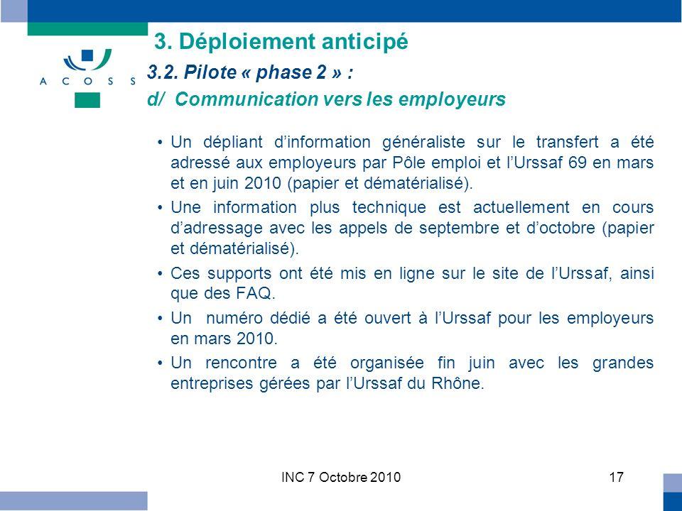 INC 7 Octobre 201017 Un dépliant dinformation généraliste sur le transfert a été adressé aux employeurs par Pôle emploi et lUrssaf 69 en mars et en juin 2010 (papier et dématérialisé).