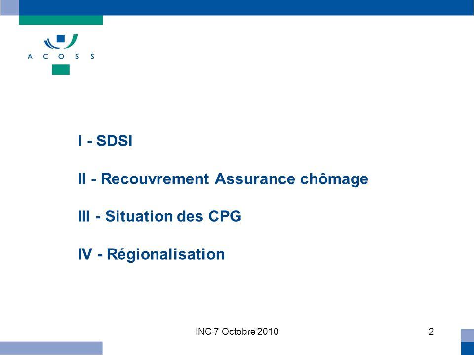 INC 7 Octobre 20102 I - SDSI II - Recouvrement Assurance chômage III - Situation des CPG IV - Régionalisation