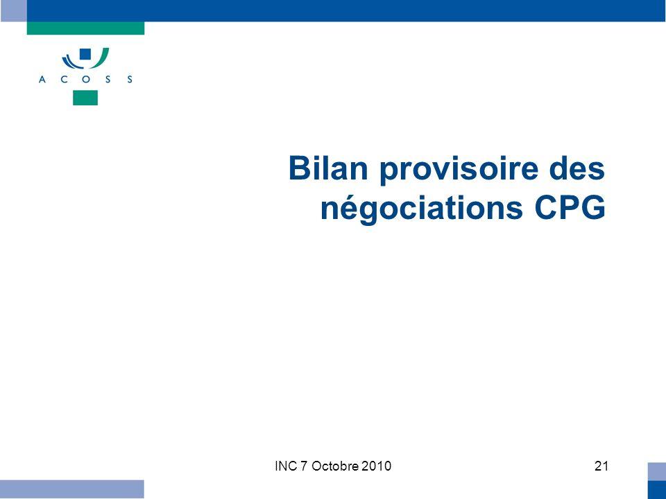 INC 7 Octobre 201021 Bilan provisoire des négociations CPG