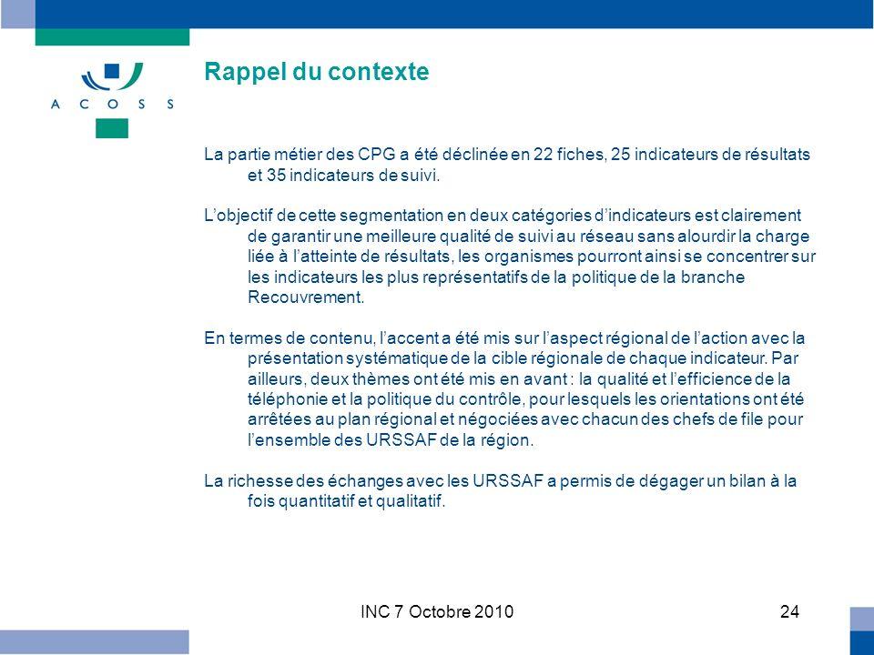 INC 7 Octobre 201024 Rappel du contexte La partie métier des CPG a été déclinée en 22 fiches, 25 indicateurs de résultats et 35 indicateurs de suivi.