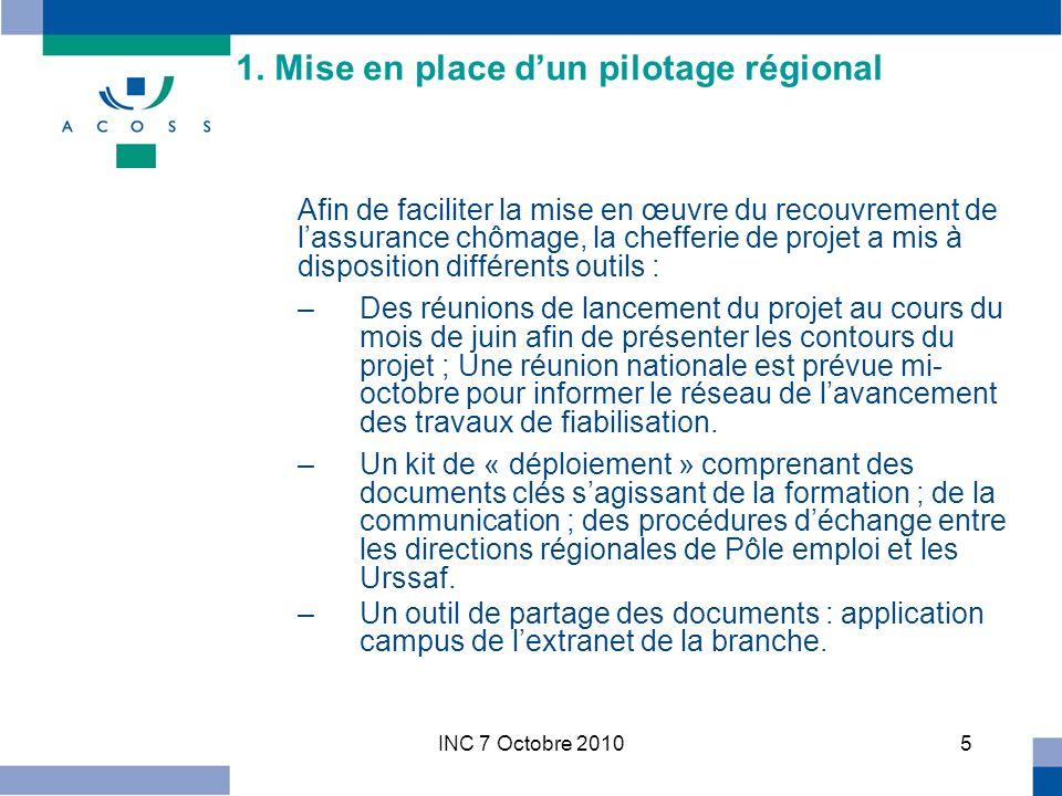 INC 7 Octobre 201036 1.2 / Missions de l échelon départemental Les activités liées au coeur de métier sont exercées et managées au niveau départemental, le cadre stratégique étant fixé au niveau régional.