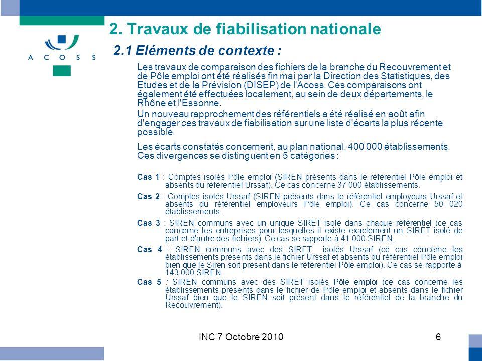 INC 7 Octobre 20107 2.2 Organisation des travaux : Trois cas seront dans un premier temps privilégiés dans le cadre des travaux de fiabilisation : les cas 1, 3 et 5.
