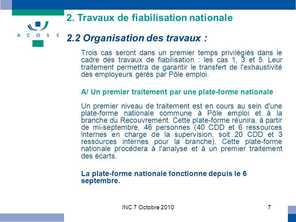 INC 7 Octobre 201018 Les experts comptables : –Un courrier commun Pôle emploi Urssaf a été adressé en mars à lOrdre national et à lOrdre régional.
