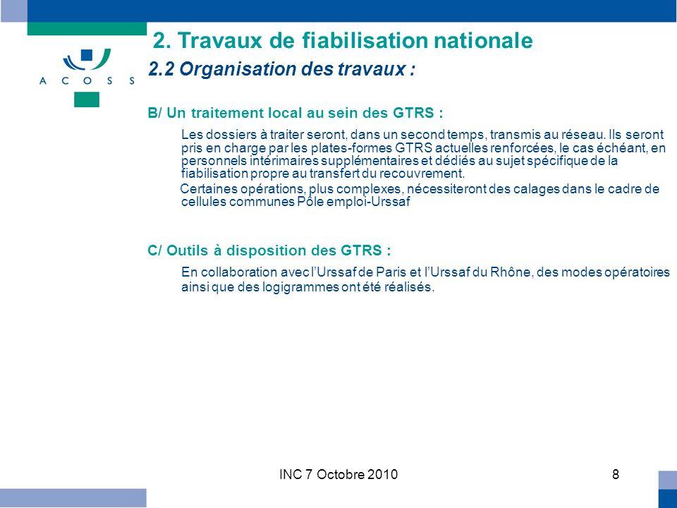 INC 7 Octobre 20108 2.2 Organisation des travaux : B/ Un traitement local au sein des GTRS : Les dossiers à traiter seront, dans un second temps, transmis au réseau.