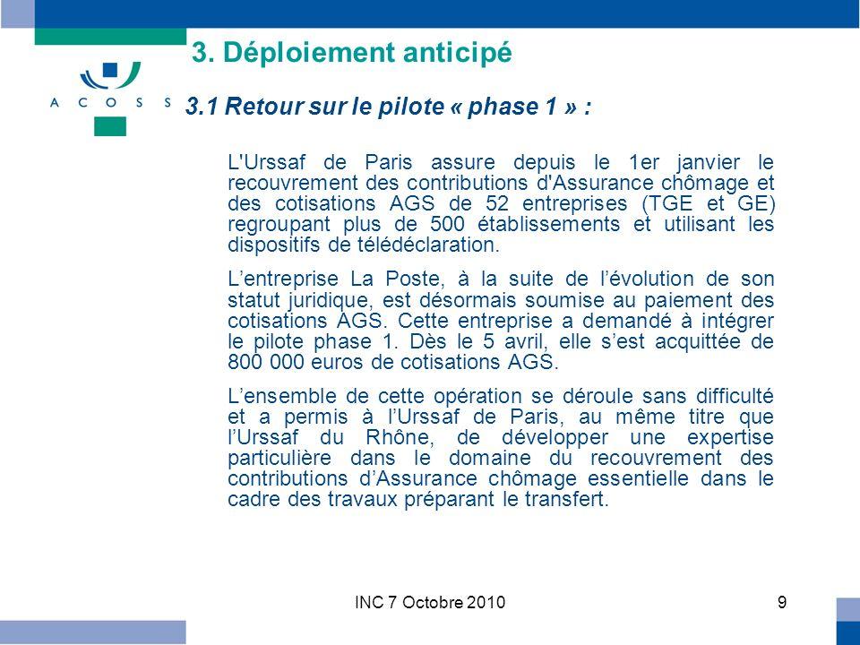 INC 7 Octobre 201020 F/ Les dates clés du démarrage Action Date de réalisation Le Comité stratégique sest prononcé sur le GO de la phase 2 26/08 Période dappels de cotisations (selon la date dexigibilté) du 26/08 au 23/09 Finalisation du périmètre des comptes transférés dans le SI Urssaf 07/09 Finalisation plan de sécurisation du 07/09 au 15/09 1 er flux déchange administratif (planification à lUrssaf) 09/09 1 er échéance mensuelle (comptes en décalage de paie) 15/09 1 er échéance trimestrielle15/10 1 er flux déchange recouvrement et effectif (planification à lUrssaf) 22/10 3.