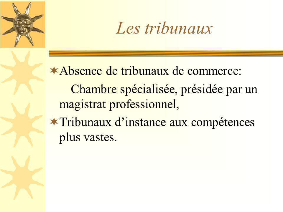 Les tribunaux Absence de tribunaux de commerce: Chambre spécialisée, présidée par un magistrat professionnel, Tribunaux dinstance aux compétences plus vastes.
