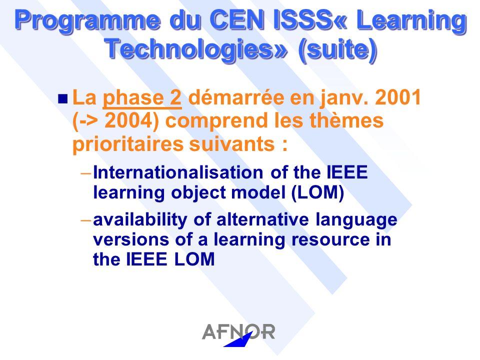 Programme du CEN ISSS« Learning Technologies» (suite) n La phase 2 démarrée en janv.